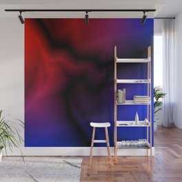 Cosmic sparkling hole of blue zigzags and red spots. Wall Mural