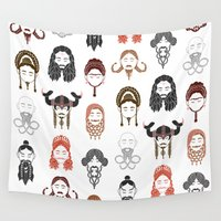 middle earth Wall Tapestries featuring The Unwritten Lady Dwarves of Middle Earth by geeksweetie