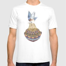 Quilted Bundles: The Bird II MEDIUM Mens Fitted Tee White