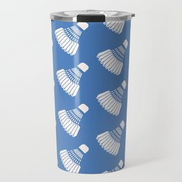 Shuttlecock Badminton Pattern (Blue) Travel Mug