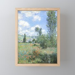 View of Vetheuil (1880) by Claude Monet high resolution famous painting Framed Mini Art Print