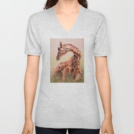 Giraffe: Restful Joy Unisex V-Neck