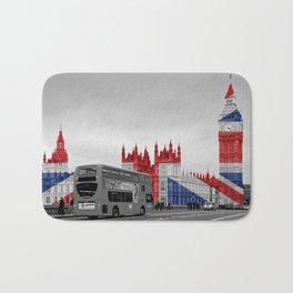 Big Ben, London Bus and Union Jack Flag Bath Mat