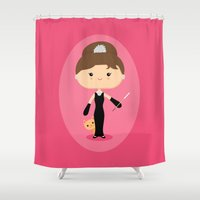 audrey hepburn Shower Curtains featuring Audrey Hepburn by Sombras Blancas Art & Design