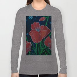 Stylized Red Poppies Long Sleeve T-shirt