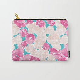 Poppy Field | Pink and Teal Carry-All Pouch