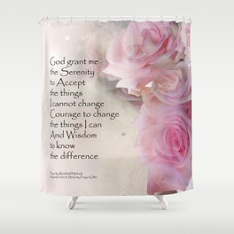 Serenity Prayer Pink Bouquet Shower Curtain