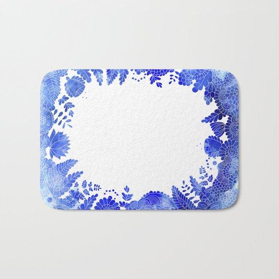 Blue Floral Pattern 04 Bath Mat
