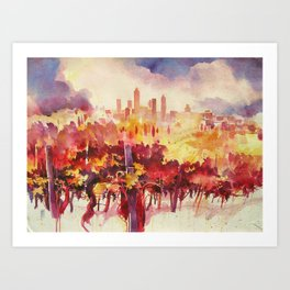 Vineyard at San Gimignano Art Print