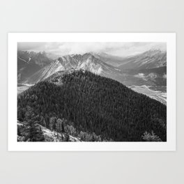 Mountain Landscape Photography Black and White Art Print