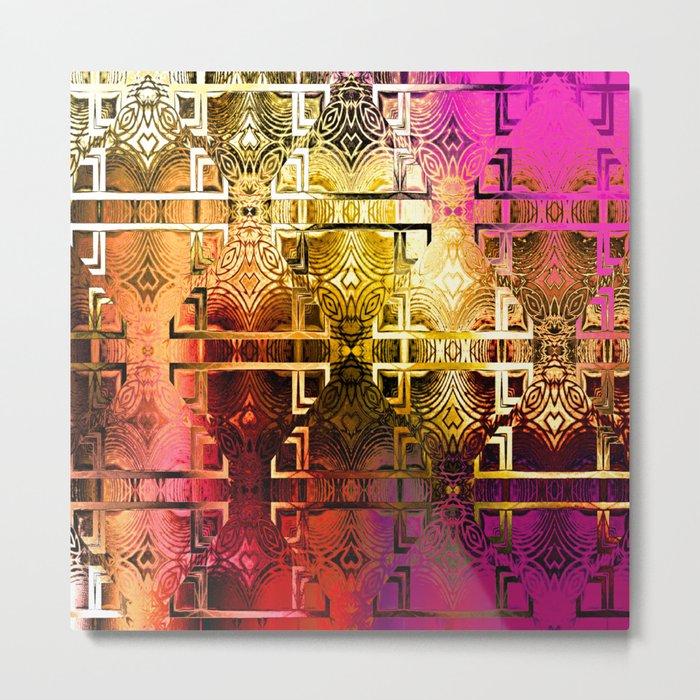 1001 Lights Pattern (gold-magenta-vermillion) Metal Print