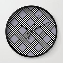 Pantone Lilac Gray, Black & White Diagonal Stripes Lattice Pattern Wall Clock