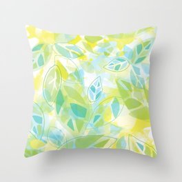 watercolor inspired leaves, spring palette Throw Pillow