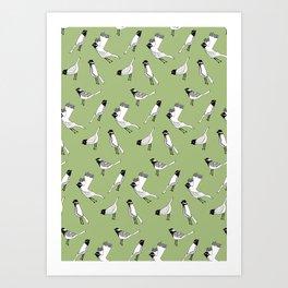 Bird Print - Olive Green Art Print