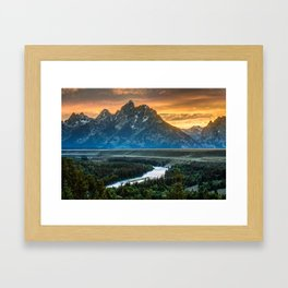 Sunset On Grand Teton And Snake River Framed Art Print