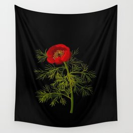 Paeonia Tenuifolia Mary Delany Vintage British Floral Flower Paper Collage Black Background Wall Tapestry