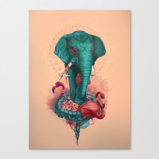 Elephant on the mat Canvas Print