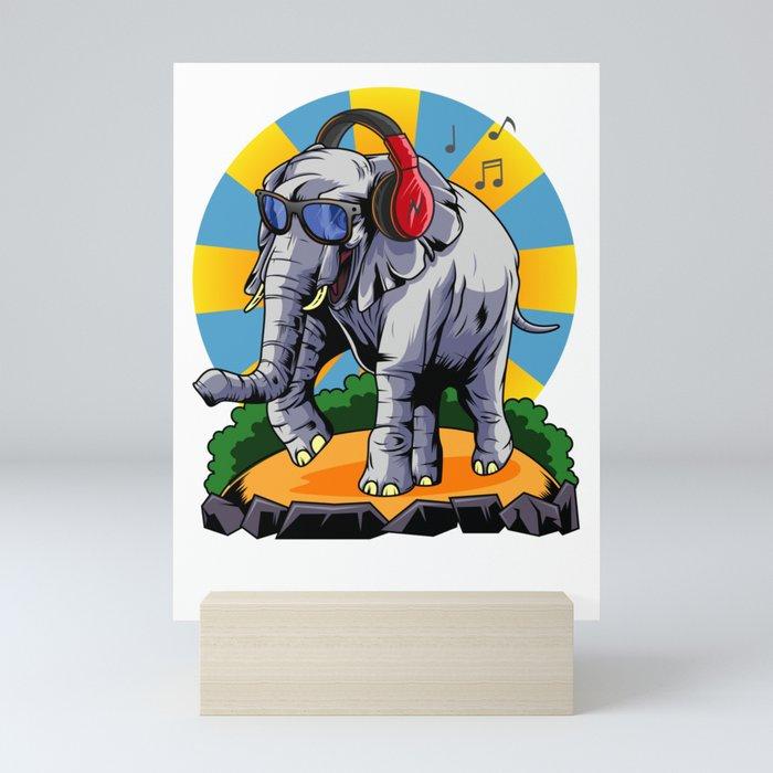 Hipster Elephant   Cool Glasses Headphones Swag Mini Art Print