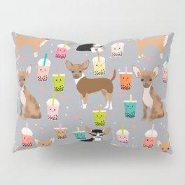 Chihuahua bubble tea kawaii boba tea cute dog breed pattern dog art chihuahuas Pillow Sham