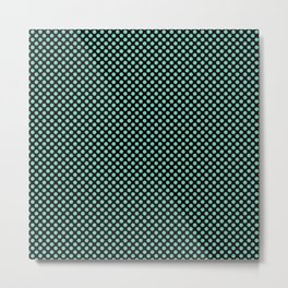 Black and Lucite Green Polka Dots Metal Print