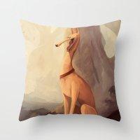 greyhound Throw Pillows featuring GREYHOUND by GentleSquid