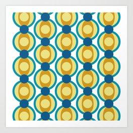 Retro Circle Pattern Mid Century Modern Turquoise Blue and Marigold Art Print