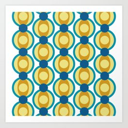 Retro Circle Pattern Mid Century Modern Turquoise Blue and Marigold Art Print