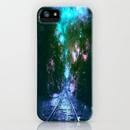 train tracks Next Stop Anywhere bright iPhone Case