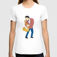 saxophone T-shirts featuring Musician Playing Saxophone Cartoon by patrimonio