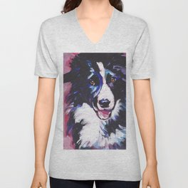 Fun BORDER COLLIE Dog bright colorful Pop Art painting by Lea Unisex V-Neck
