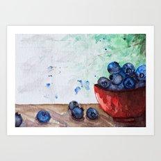 Blueberries -Watercolor Art Print