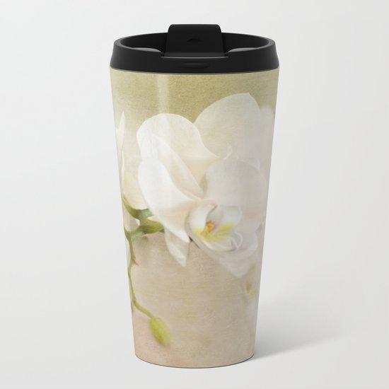 White Orchids Metal Travel Mug