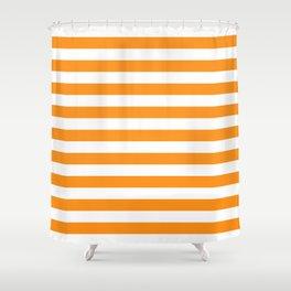 Sacral Orange and White Stripes Shower Curtain