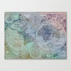 Map of the Colorful World Canvas Print