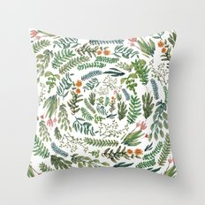 water color rotation garden Throw Pillow