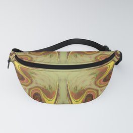 Groovy, Retro, Green and Brown Swirl Design Fanny Pack