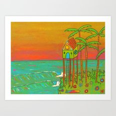 Surf Paradise Dream Home House on Stilts Art Print