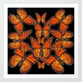 Monarch Butterflies Migration Black Pattern Art Art Print