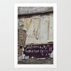 off to galifornia... Art Print