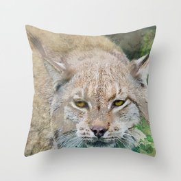 Eye to Eye with a Lynx in the Grass Throw Pillow