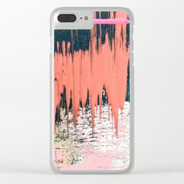 Dollface: a minimal, abstract piece in pink, blue, and gold Clear iPhone Case