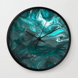 Dark Clouds Gathering - Teal & Grey Marbling Wall Clock