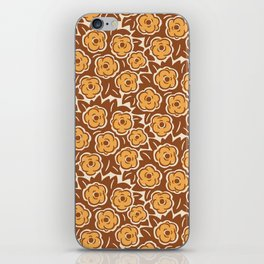 Flower Bouquet Pattern Brown and Yellow Ochre iPhone Skin