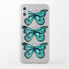 Turquoise Butterfly Clear iPhone Case