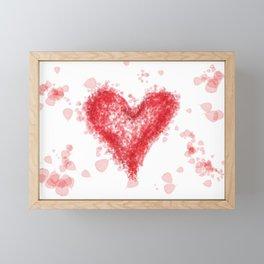 Valentine Flying Heart with Leaves Framed Mini Art Print
