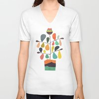 plant V-neck T-shirts featuring Potted Plant 4 by Picomodi