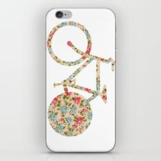 Whimsical cute girly floral retro bicycle iPhone Skin