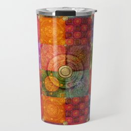 """Colorful Mosaic Pattern Gold Metal Texture"" Travel Mug"