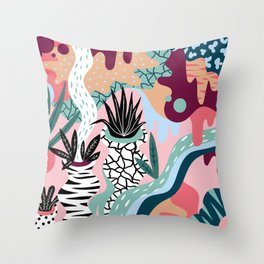 Pattern with plants Throw Pillow