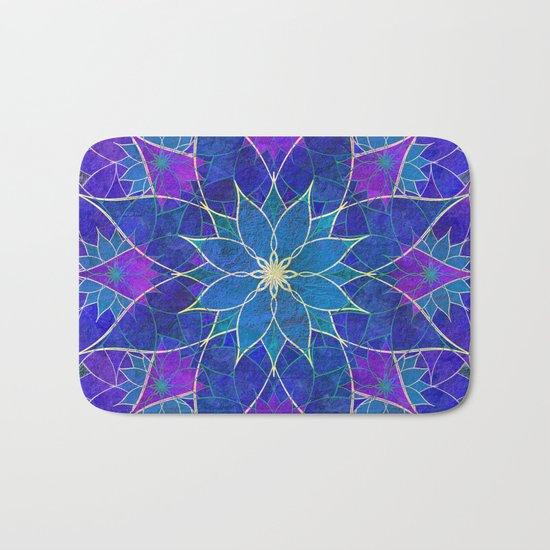Lotus 2 - blue and purple Bath Mat